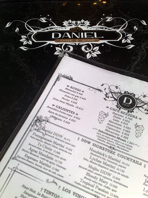Menu do Daniel Dine & Wine
